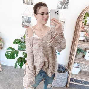 Free People Oversized Deep V Alpaca Blend Sweater